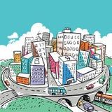 Illustrazione Funky di doodle della città Immagine Stock Libera da Diritti