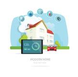 Illustrazione futura moderna domestica astuta di vettore della casa Fotografie Stock Libere da Diritti