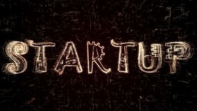 Illustrazione futuristica 3D di testo Startup che è costituito dalla programmazione del codice illustrazione vettoriale