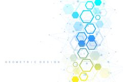 Illustrazione futuristica dell'estratto di tecnologia di dati Grande visualizzazione di dati Poli forma bassa con i punti e le li illustrazione di stock