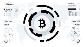 Illustrazione futuristica di vettore del cerchio di cryptocurrency di Bitcoin illustrazione di stock