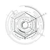 Illustrazione futuristica di vettore di schizzo dell'interfaccia illustrazione di stock
