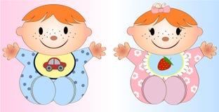 Illustrazione gemellata due di Girl.Vector e del neonato Fotografia Stock Libera da Diritti