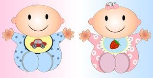 Illustrazione gemellata due di Girl.Vector e del neonato Fotografie Stock Libere da Diritti