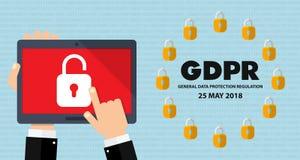 Illustrazione generale di concetto di regolamento GDPR di protezione dei dati - 25 maggio 2018 Immagini Stock