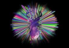 Illustrazione generata da computer artistica astratta 3d dell'raggi multicolori con un cervo dell'acquerello nel mezzo illustrazione vettoriale
