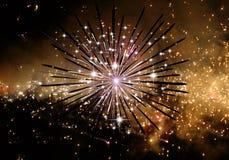 Illustrazione generata da computer artistica astratta 3d di un fondo del fuoco d'artificio illustrazione di stock