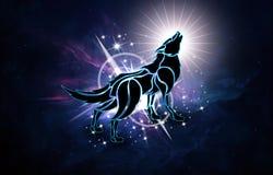 Illustrazione generata da computer artistica astratta 3d di un lupo in un fondo della galassia della nebulosa illustrazione di stock
