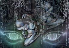 Illustrazione generata da computer artistica astratta 3d di un robot depresso su un materiale illustrativo scorrente della testa  royalty illustrazione gratis