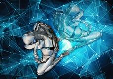 Illustrazione generata da computer artistica unica 3d dell'estratto di un uomo intelligente artificiale triste che mette nella sc illustrazione vettoriale