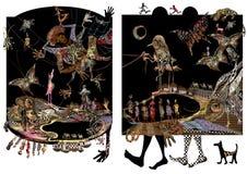 Illustrazione, gente, piedi ed animali africani Immagini Stock