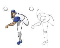 Illustrazione - giocatore di baseball Fotografie Stock Libere da Diritti