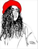 Illustrazione, giovane donna sul berretto rosso Immagine Stock