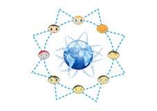 Illustrazione globale di concetto della rete degli amici Immagine Stock