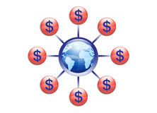 Illustrazione globale di distribuzione di ricchezza Immagini Stock