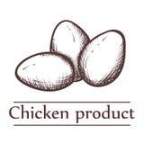 Illustrazione grafica dei prodotti a base di pollo con l'iscrizione Immagine Stock Libera da Diritti