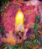 Illustrazione grafica della fiamma di candela e del primo piano del lucignolo Immagine Stock Libera da Diritti