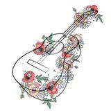 Illustrazione grafica disegnata a mano di vettore della chitarra con i fiori, foglie Disegno di schizzo, stile di scarabocchio Li illustrazione di stock