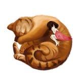 Illustrazione: Grande Cat Sleeps in una palla e nella bambina dorme insieme con lui Fotografia Stock Libera da Diritti
