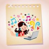 Illustrazione graziosa del fumetto della carta per appunti della ragazza del computer portatile delle cuffie Immagini Stock