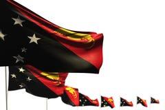 Illustrazione graziosa della bandiera 3d di festività - la Papuasia Nuova Guinea ha isolato le bandiere ha disposto diagonale, l' royalty illustrazione gratis