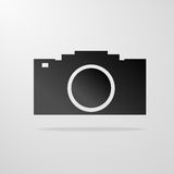 Illustrazione grigia di vettore dell'icona della macchina fotografica della foto Immagini Stock Libere da Diritti