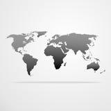Illustrazione grigia di vettore dell'icona della mappa di mondo Fotografie Stock Libere da Diritti
