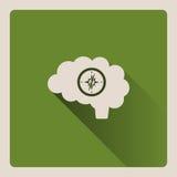 Illustrazione guida del cervello su fondo verde con ombra Immagini Stock