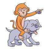 Illustrazione H4 di vettore del cane e della scimmia Fotografia Stock