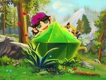 Illustrazione: Ha trovato una grande gemma nel terreno boscoso della montagna Immagine Stock Libera da Diritti
