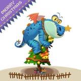 Illustrazione: Il bradipo Dragon Monster Comes per augurargli il Buon Natale! Immagine Stock Libera da Diritti