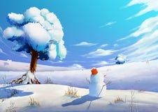 Illustrazione: Il campo di neve di inverno con il pupazzo di neve Fotografia Stock Libera da Diritti