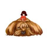 Illustrazione: Il grande cane e la bambina La bambina si siede sui grandi peli del cane e pensa per rendergli una treccia Immagine Stock Libera da Diritti