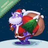 Illustrazione: Il grande uomo della neve della bocca viene ad augurargli il Buon Natale! Immagine Stock Libera da Diritti