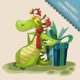 Illustrazione: Il mostro del coccodrillo viene ad augurargli il Buon Natale! Immagine Stock