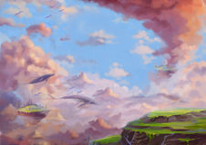 Illustrazione: Il paese delle meraviglie fantastico con le terre e le balene di volo Immagine Stock Libera da Diritti