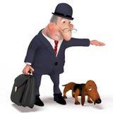 Illustrazione il signore con un cane. Fotografia Stock