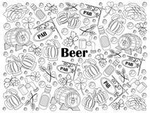 Illustrazione incolore di vettore dell'insieme della birra Immagini Stock Libere da Diritti