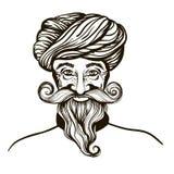 Illustrazione indù di vettore dell'uomo del fronte su un fondo bianco disegnato a mano, per in stile di terapia di arte di zen pe Fotografia Stock