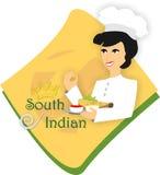 Illustrazione indiana del sud di vettore di logo del ristorante dell'alimento illustrazione vettoriale