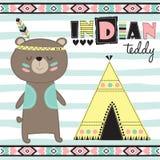 Illustrazione indiana di vettore dell'orsacchiotto Fotografia Stock Libera da Diritti