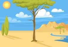 Illustrazione indigena australiana di vettore della foresta del fondo dell'Australia del paesaggio del fumetto di stile piano pop illustrazione di stock