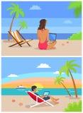 Illustrazione indipendente di vettore dell'insieme della donna e dell'uomo illustrazione di stock