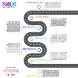 Illustrazione infographic di vettore di progettazione della carta stradale di modo di strada della curvatura della mappa del cicl illustrazione di stock