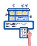 Illustrazione intelligente della rete del computer di automazione della costruzione di concetto di vettore della costruzione royalty illustrazione gratis