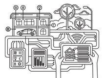Illustrazione intelligente della rete del computer di automazione della costruzione di concetto di vettore della costruzione illustrazione vettoriale