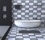 Illustrazione interna 3d della stanza da bagno in bianco e nero Fotografie Stock