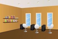 Illustrazione interna arancio della stanza del salone di lavoro di parrucchiere Fotografie Stock
