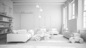 Illustrazione interna bianca della sala 3D di progettazione moderna Immagine Stock