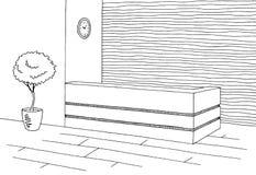 Illustrazione interna bianca grafica di schizzo di nero d'ossa dell'ufficio di ricezione Immagini Stock Libere da Diritti